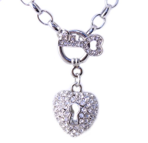 Silver Tone Cz Key and Heart Charm Pendant Necklace -Thanksgiving Sale