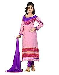 Lookslady Cotton Pink Women Clothing Semi Stitched Salwar Kameez Suit