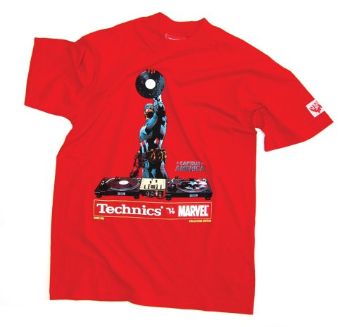 DMC Technics Marvel Captain America DJ Mens T-Shirt Red Tm5Rs Small