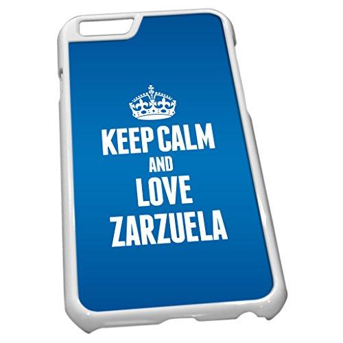 Blanc Coque pour iPhone 61670Bleu Keep Calm and Love Zarzuela