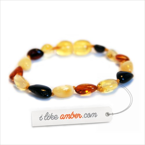 14cm Genuine Baltic Amber Teething Bracelet Anklet Child Baby size Multicolor Bean shape Beads