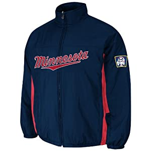Minnesota Twins Navy Authentic Double Climate On-Field Jacket by Majestic by Majestic