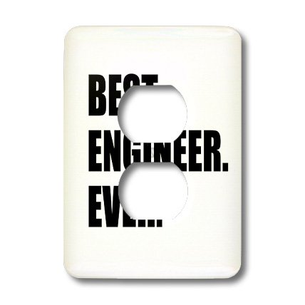 Lsp_184996_6 Inspirationzstore Typography - Best Engineer Ever - Fun Gift For Engineering Job - Black Text - Light Switch Covers - 2 Plug Outlet Cover