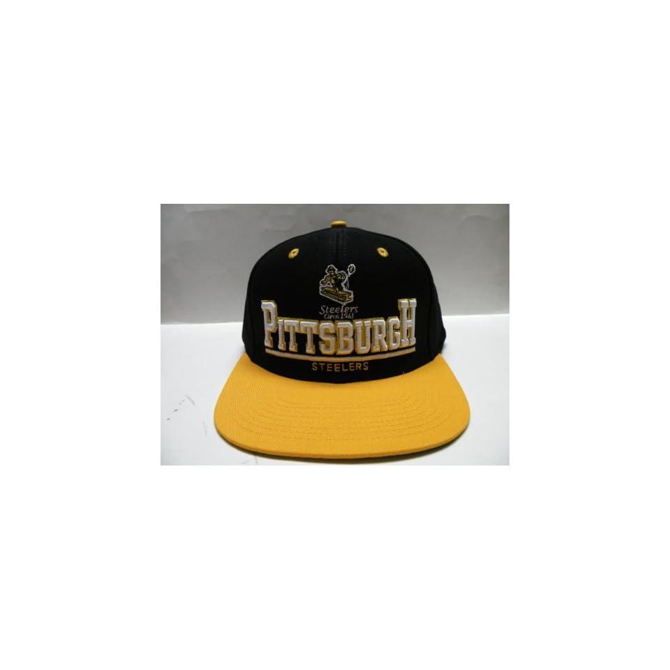com NFL Pittsburgh Steelers Bold Black Gold 2 Tone Retro Snapback Cap