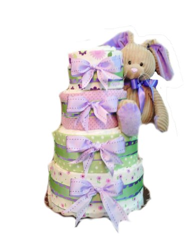 Lavender Love - Bunny Rabbit Baby Shower Diaper Cake Gift Set - 4 Tier
