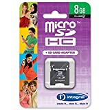 Brand New. Integral Micro SDHC Media Memory Card with SD Adaptor Capacity 8GB Ref INMSDH8G4V2