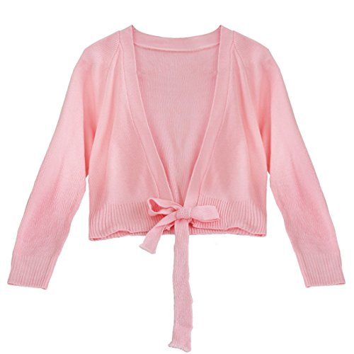 TIAOBU Girls Ballet Costume Dance Gymnastics Warm-up Knit Wrap Sweaters Pink 4-5 (Ballet Dancing Costume)