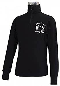 Equine Couture Girl's Riding Club Turtle Neck Tee, Black, Small