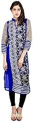Sneharsh Women's Linen Kurti(SK116 _ 42, Blue Black, 42)