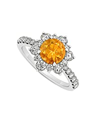 925 Sterling Silver November Birthstone Citrine And Cubic Zirconia Floral Engagement Ring