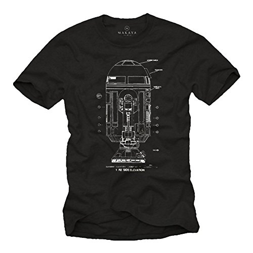Maglietta Android - R2 Blue Print - T-shirt stampa Robot Big Bang Theory nera S