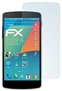 3 x atFoliX Google Nexus 5 Displayschutzfolie - FX-Clear kristallklar