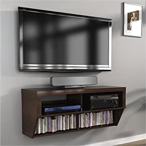 42 espresso wall mounted component media stand for under tv kitchen dining - Under wall mounted tv cabinet ...