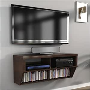 42 espresso wall mounted component media for Small wall mounted tv for kitchen