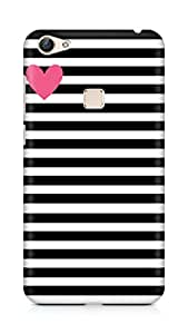 AMEZ designer printed 3d premium high quality back case cover for Vivo X6 (black white stripes pink heart)
