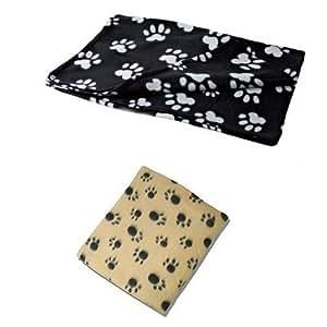 X 2 Large UKayed ® Pet Blankets Deluxe Fleece 120cm X 80cm 1 Black 1 Biege