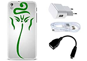 Spygen HTC Desire 816 Case Combo of Premium Quality Designer Printed 3D Lightweight Slim Matte Finish Hard Case Back Cover + Charger Adapter + High Speed Data Cable + Premium Quality OTG