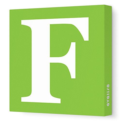 "Avalisa Stretched Canvas Upper Letter F Nursery Wall Art, Green, 12"" x 12"""
