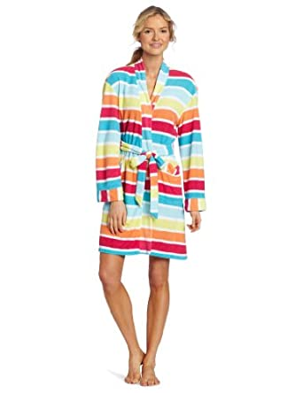 Dearfoams Women's Printed Kimono Robe, Popsicle Stripe, Small