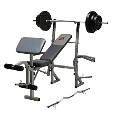 Marcy mwb 544 bench with 100 pound weight set standard weight benches sports Weight set and bench