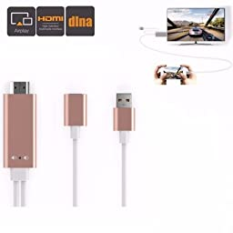 M.Way Aluminium Universal MHL Micro USB to HDMI Cable 6Ft 3 in 1 HD 1080P Type-C Miracast AirPlay Mirroring/ HDTV Adapter for iphone5 5S 6 6S SE 7 7plus Samsung S5 S6 S7 Android iOS Smart Phone Tablet