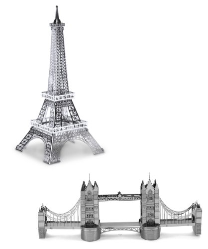 Metal Earth 3D Laser Cut Steel Models - Eiffel Tower AND London Tower Bridge SET OF 2