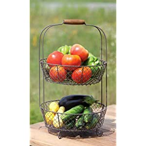 Vintage Style Two Tiered Vegetable Basket Stand