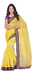Bhagawati Women's Net Saree BS-035_Yellow