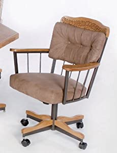 Set of 2 Dining Chairs with Casters Tan Microfiber Amazon