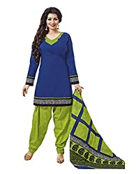 RK Fashion Womens Cotton Un-Stitched Salwar Suit Dupatta Material ( PRANJUL-PATIYALA-205-Blue-Free Size )