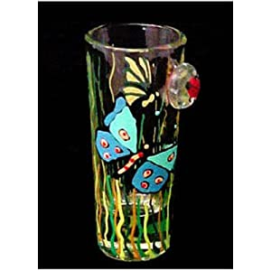 Butterfly Meadow Design Hand Painted Collectible Shooter Glass