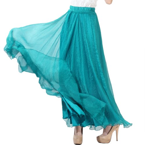 Finejo Womens Chiffon Retro Long Maxi Skirt Vintage Dress