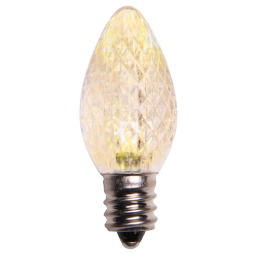 Pack Of 25 Faceted Transparent Warm White Led C7 Christmas Replacement Bulbs