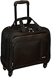 Kemyer 16 Inch Double Zipper Rolling Laptop Overnighter - Underseater Spinner Wheeled Computer Briefcase - Black
