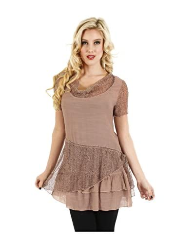 Lily Women's Tunic with Sheer Lace Trim