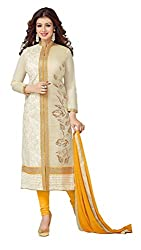 Vaidehi Fashion Yellow And Off White Dress Material