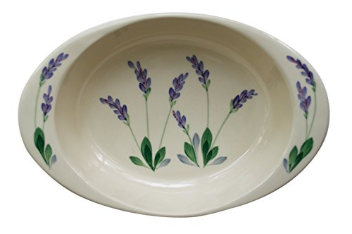 Large Ceramic Casserole Baker and Oven to Table 1 1/2 Quart Deep Serving Dish with Decorative Hand Painted Lavender Design (4 1 2 Quart Stock Pot compare prices)