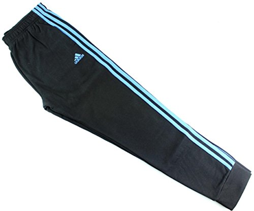 adidas Youth Fleece Collection (Youth Large 14/16, Tapered Hem Sweatpants, Black/Blue)