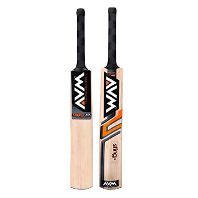 AVM Stingplus Kashmir Willow Cricket Bat, Short Handle (Black)