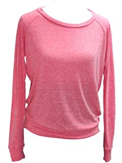 YogaColors Black Heart Tri-Blend Light Weight Raglan Pullover BR394 (Large, Eco Deep Pink)