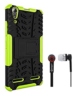 Ceres Hybrid Shock Proof Back Cover Case with Kickstand for Lenovo A6000 Plus With Ceres 3.5mm Stereo Earphones (Green)
