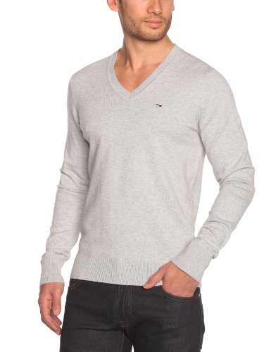 Tommy Hilfiger Timber Vn Sweater Longsleeve KIR38 Men's Jumper Light Grey Heather X-Large