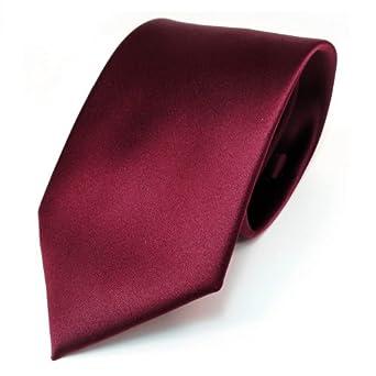 Designer Satin Krawatte rot bordeaux uni Polyester