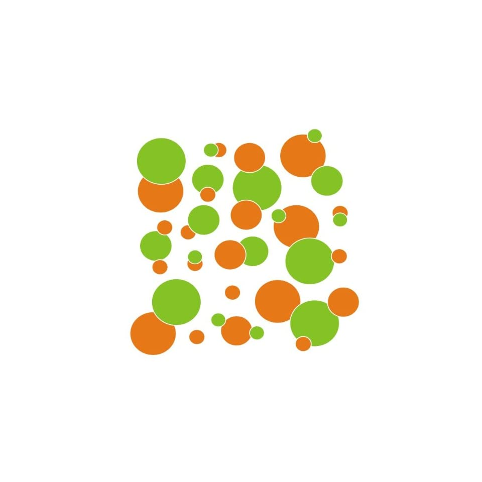set of 106 Orange and Lime Green polka dots Vinyl wall lettering stickers quotes and sayings home art decor kit peel stick mural graphic appliques decal