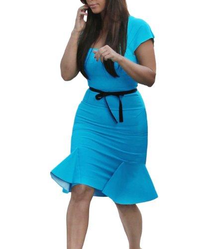 Miusol® Ladies Peplum Bodycon Pencil Skirt Knee Falbala