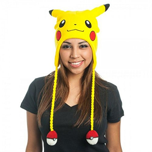Pokemon Pikachu Plush Embroidered Laplander Beanie Style Hat Cap With Poke Balls front-555196