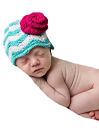 Melondipity\'s Blue and White Chevron Hat with Pink Rose for Baby Girls