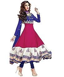 Blue and Pink Georgette Semi Stitched Anarkali dress