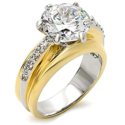Ah! Jewellery. 8ct Stunning Brilliant Round Simulated Diamonds. Two Tone Engagement Ring. Looks Very Pretty And Expensive