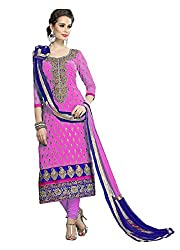 Viha Women's Chanderi Unstitched Dress Material (VF_DM_Pink_Free Size)